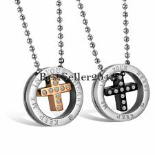 Stainless Steel Keep Me in Your Heart Circle Cross Mens Womens Pendant Necklace