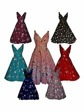 LADIES CLASSIC 40'S 50'S BIRD PRINT VINTAGE FULL CIRCLE PARTY DRESS BNWT 8 - 28