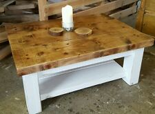 Shabby chic Rustic pine coffee table hand painted with shelf sleeper plank solid