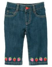 GYMBOREE STRAWBERRY SWEETHEART DENIM BERRY HEM CROPPED PANTS 6 12 2T 3T 4T NWT