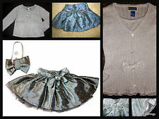 ~NWT NWOT THE CHILDRENS PLACE silver HOLIDAY glitter SKIRT sequin TWIRLY sweater