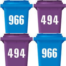 "4 Pack WHEELIE BIN NUMBERS 7"" WHEELY STICKERS DUSTBIN WHITE SELF ADHESIVE DECAL"