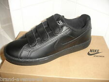 BOYS NIKE MAIN DRAW LEATHER SCHOOL TRAINERS SHOES BLACK VELCRO 4 5 5.5 BNWT