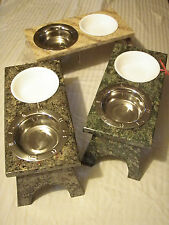 Raised Cat Feeding Bowls/Elevated Feeder Station/Food Stand - Granite