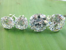 925 sterling silver 9mm 12mm Round White Cubic Zirconia Studs Earrings - UNISEX