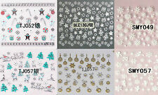 Xmas Christmas Nail Art Stickers Snow Flakes Trees Gold Silver Star Festive