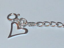 """925 Sterling Silver 3.2mm Curb Chain Bracelet Anklet Open Heart Charm 6"""" - 13"""""""