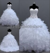New White/Ivory Sweetheart Wedding Dresses Ruffle Skirt Bridal Gowns  Size2-16