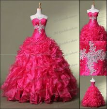 New Stock Hot Pink Quinceanera Dresses Ball Gown Prom Pageant Dresses Size 4--16