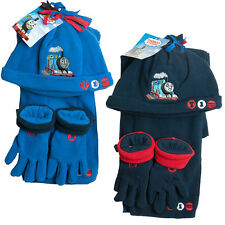 Boys Thomas The Tank Engine T1 Fleece Hat Scarf Glove Set Navy or Blue 1-4 yrs