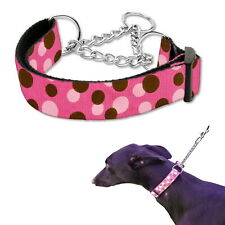 Martingale Dog Collar Pink Dots M  L Greyhound Whippet Training Choke Chain pet