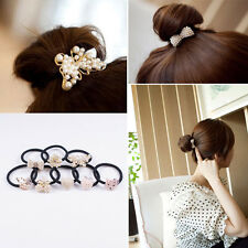 Fashion Women Crystal Rhinestone Pearl Hair Band Tie Elastic Ponytail Holder NEW