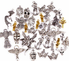 100g (about 80pcs) Mixed Angel/Fairy/Skull/People Shapes Charms Pendants Finding