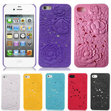 iPhone 4 4S Stylish 3D Sculpture Embossed Rose Flower Mobile Phone Case Cover