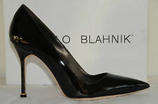 New Manolo Blahnik BB 105 Brown Patent Leather Shoes Pumps 39.5 9