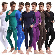 Fashion Men's Bamboo Fiber Thermal Underwear Set Long Sleeve Shirt + Long Johns