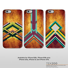 iPhone walnut wood print phone cover with modern geometric pattern design