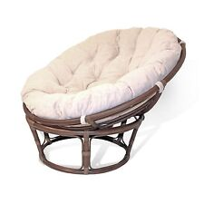 Rattan Wicker Handmade Round Papasan Chair with Thick Cushions EXTREMELY COMFY!