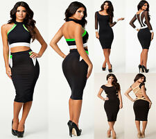 Black Qulity Classic Bandage Back Over Knee Cocktail Evening Gown Clubwear @9050