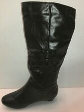 women shoes low Wedge Comfort Round Toe Fashion Mid Calf Knee High Boots new