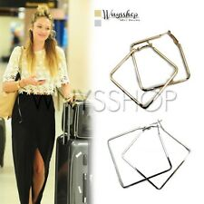 Women Earrings Lady Girl Stylish Fashion Big Square Hoop Causal Accessories