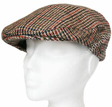 Mens Ladies Herringbone Tweed Flat Cap. Adult Womens Country Peak Wool Mix Hat