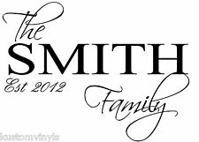 Custom Family Name and date wall quote art vinyl decal sticker Removable