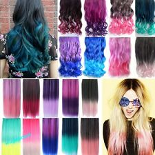"""18""""24"""" New Rainbow Fading Color Hair Extensions Curly Straight Clip 18 Colors"""
