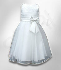 Beautiful Flower Girls Ivory Cream Party Dress With Satin Bow Communion Dresses