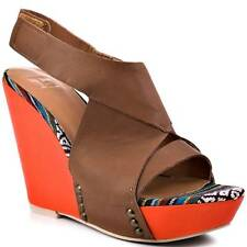 Joe's Jeans Tyra Wedge Sandal SED Leather Brown Orange Heels Straps Velcro Shoes