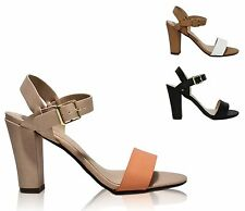 Women's Open Toe Single Band Ankle Strap Thick Heel Dress Sandals Space