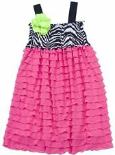 RARE EDITIONS Girl Size 8 Pink Eyelash Zebra Smocked Corsage Party Sun Dress NWT