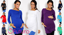 Trendy Women's Maternity Tunic ♥ Long Sleeve Asymmetric Neck Top Pregnancy 6053