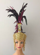 Golden Spike Stud Roman Warrior Helmet Bird Feather Headdress Costume