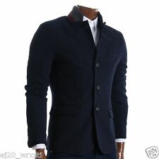 FLATSEVEN Mens Slim Casual Waffle Fabric Blazer Jacket (BJ105) Navy