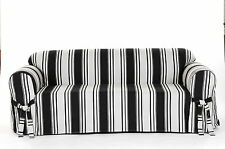 All Cotton Black Stripes Sofa, Loveseat or Chair Slipcover + 2 matching Pillows