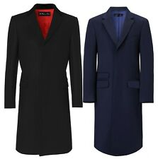 Men Classic Wool Overcoat Velvet Collar Red Lining Long Covert Coat Cromby Mod