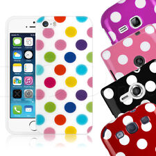 Vintage Style Polka Dot Spotty Gel Mobile Phone Case Cover With Screen Protector