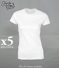 5 PACK OF 100% COTTON FEMALE PLAIN T SHIRTS WHITE BLACK GREY GREAT PRICE