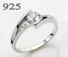 18K GP Real 925 sterling silver Swiss diamond ring Dia 14,15,16,17,18,19,20mm