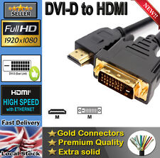 New Gold HDMI to DVI-D 24+1 Pin Digital Cable Lead for True HDTV LCD Sky BluRay