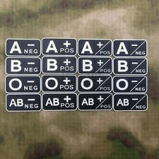 Luminous Blood Type + POS -NEG Military Tactical 3D PVC Velcro Patch