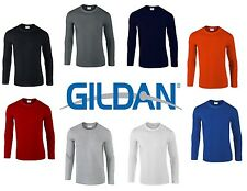Gildan Mens Plain Soft Style Long Sleeve T-Shirt