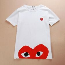 """Comme des Garcons CDG play """"Down Half Red Heart"""" Short Sleeve White T-shirt SML"""