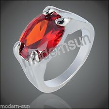 Ruby Oval Deep  Red Zircon 18K White GP Crystal Ring R5250A