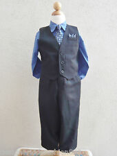 Boy Black royal blue vest with neck tie ring bearer tuxedo formal suit set
