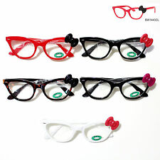Hello Kitty Bowknot Eyeglass Glasses w/OptiClear Lens Spring Temple Frame Medium