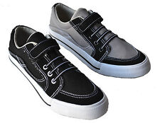 Cleverly Men's Canvas Sneakers Velcro Low-Top Casual Shoes Black/Gray Size 7~10