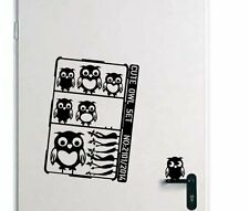 Designer - Cute Owl Set - Lovable Vinyl Stickers. Wall Stickers Many colours.New