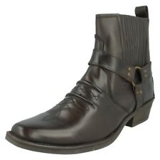 Mens LEATHER  Dark Brown short cowboy boots.A3003.